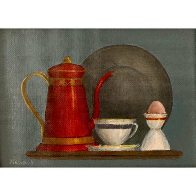 """English Traditional Mid-Century Modern """"Breakfast"""" Acrylic Painting For Sale - Image 3 of 8"""