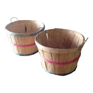 Vintage Wood Farm Baskets - A Pair