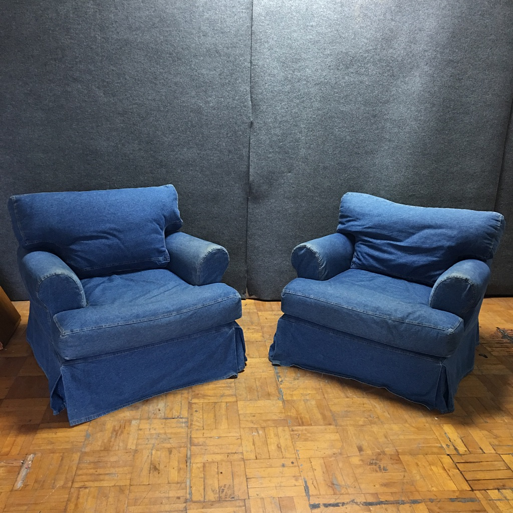 Robb U0026 Stucky Denim Sofa Chairs   A Pair   Image 2 Of 11