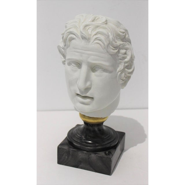 Mid-Century Modern Roman Head of Male in White Porcelain on Faux Malachite Stand For Sale - Image 11 of 11