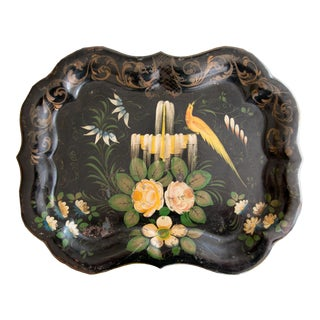 Antique French Hand Painted Bird Scalloped Tole Tray For Sale
