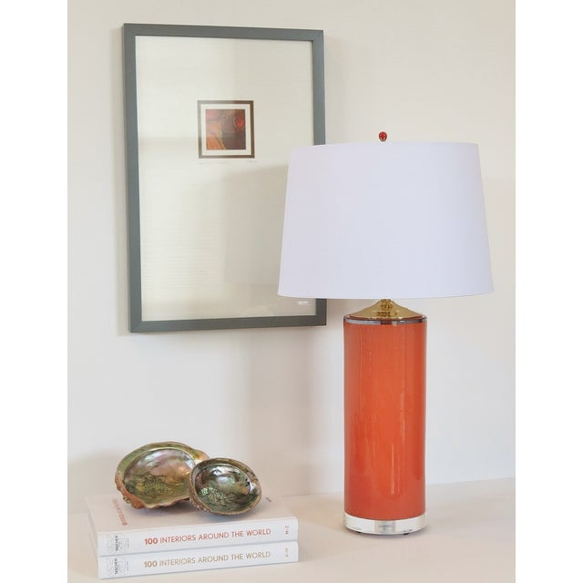 Coral Glass Cylinder Lamp & Shade - Image 4 of 5