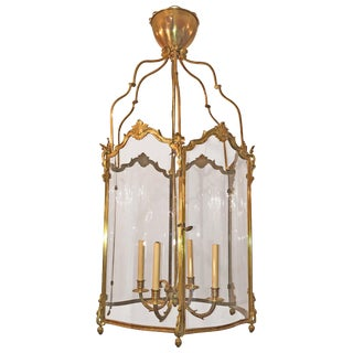 Large French Bronze Hall Lantern For Sale