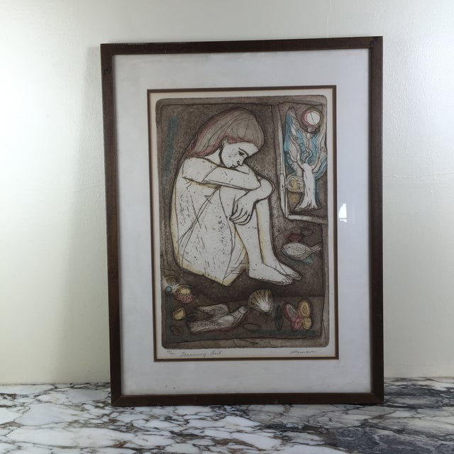 """Mid-Century Lithograph """"Dreaming Girl"""" by Irving Amen - Image 2 of 6"""