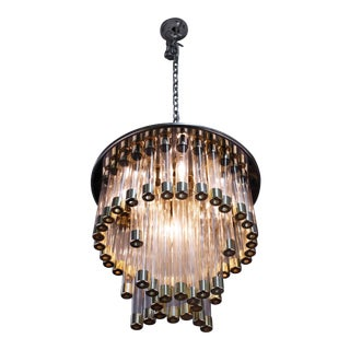Mid-Century Modern Chrome and Glass Tube Chandelier For Sale