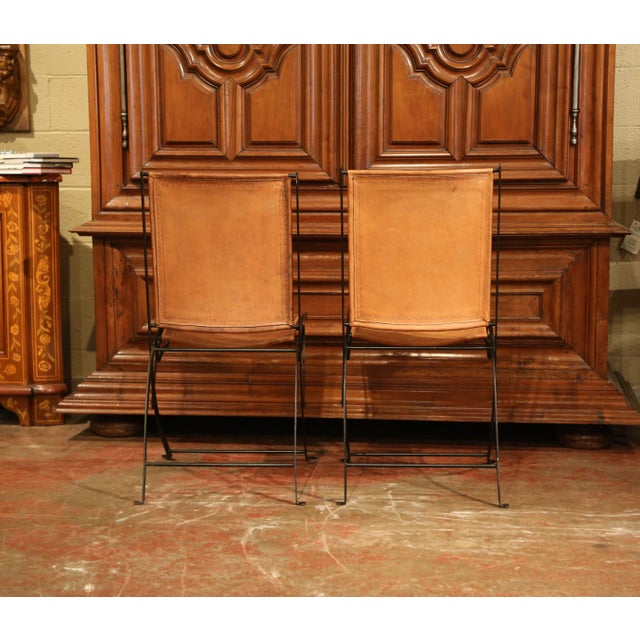Pair of Mid-20th Century French Iron and Leather Folding Chairs For Sale In Dallas - Image 6 of 9