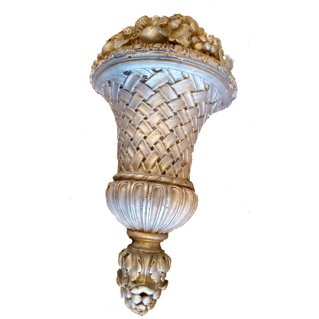 Shabby Chic Vintage French Fruit Basket Sconces - Pair For Sale - Image 3 of 6