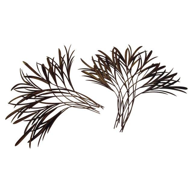 Decorative Bound Leaf Sculptures - Pair - Image 1 of 4