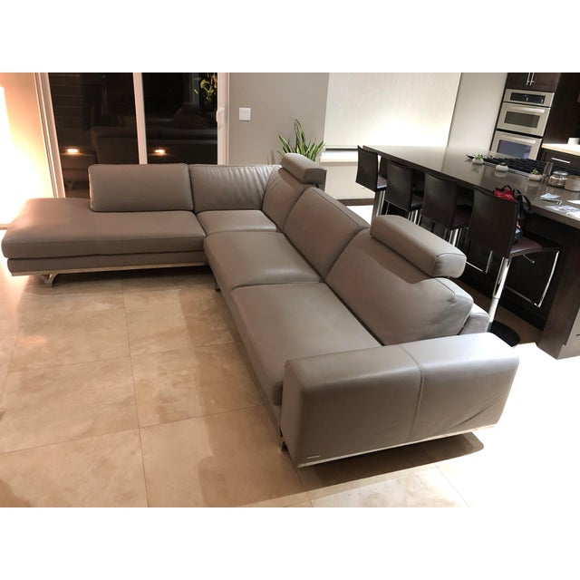Modern Roche Bobois Gray Leather Sectional Sofa For Sale In Los Angeles - Image 6 of 11