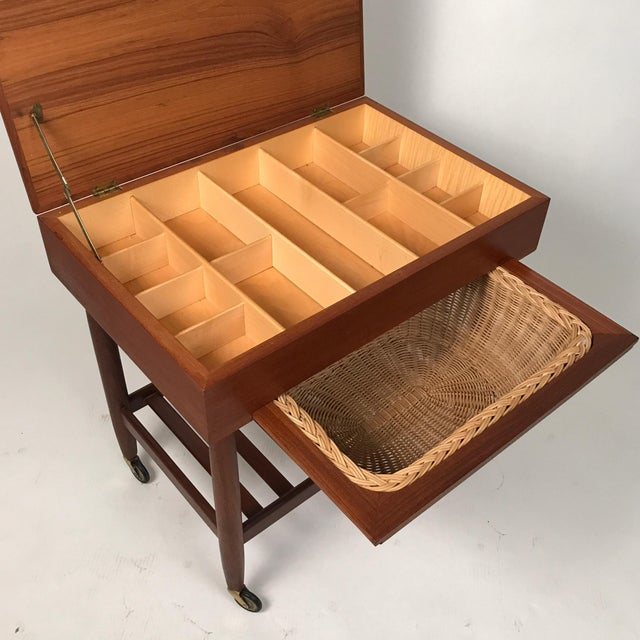 Danish Modern Danish Teak & Rattan Lift Top Sewing Cart/Table with Wheels, Ejvind A. Johansson For Sale - Image 3 of 7