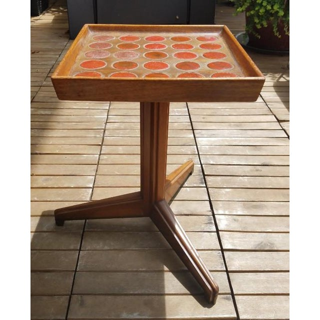 1950s Vintage Edward Wormley for Dunbar Natzler Tile Top Drink Stand For Sale In Miami - Image 6 of 13