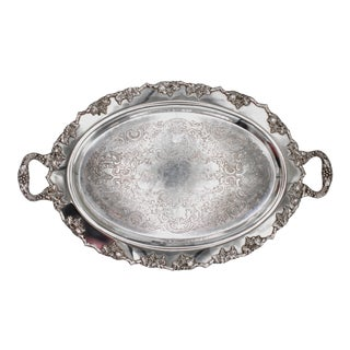 Mid-Century Silver Plate Handled Serving Tray For Sale