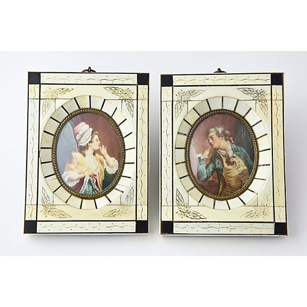 White 19th Century Antique Miniature Lovers Portrait Paintings - A Pair For Sale - Image 8 of 8