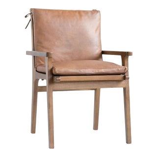 Mid Century Cedar Wood Leather Chair For Sale