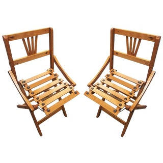 George Nelson Inspired Child-Size Folding Slat Wood Chair, Set of Two For Sale