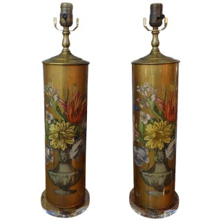 1960s Hollywood Regency Eglomise Floral Lamps - a Pair For Sale