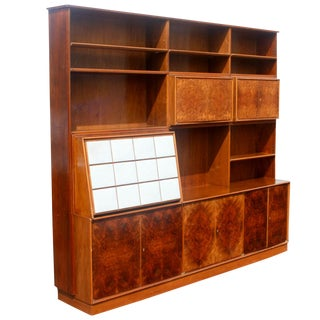 1960s Mid Century Modern Burl Wall Unit Entertainment For Sale