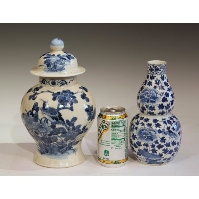 Antique 19th Double Circle Mark Chinese Blue & White Porcelain Jar Cover Vase For Sale - Image 11 of 12