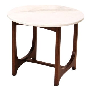 1950s Mid-Century Modern Marble Top Side Table For Sale