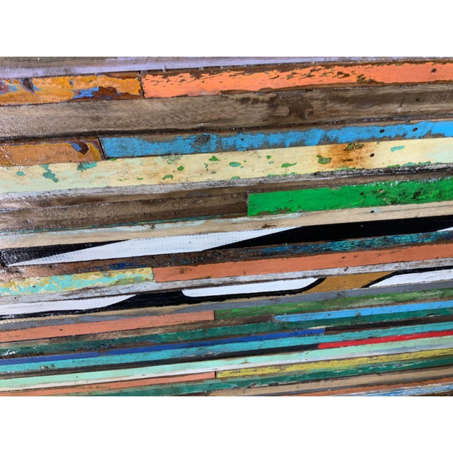 Abstract Reclaimed Wood Wall Sculpture For Sale - Image 9 of 13
