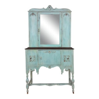1940s Shabby Chic Teal Cabinet For Sale