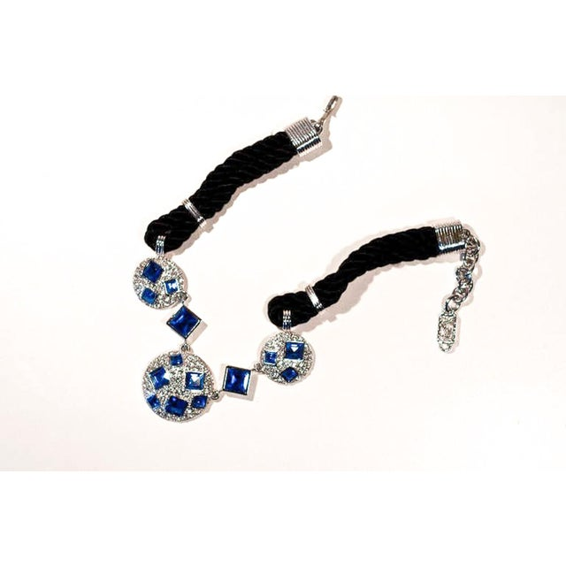 Contemporary Circa 1990 Yves Saint Laurent Blue Rhinestone, Silk and Silver-Toned Metal Necklace For Sale - Image 3 of 8
