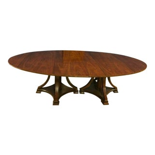 Hickory White Transitional Oval Walnut Dining Table For Sale