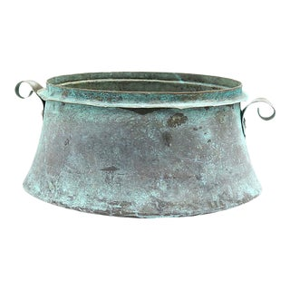19th Century English Verdigris Copper Planter For Sale