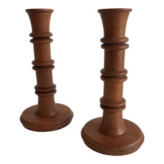 Solid Teak Candle Holders - A Pair