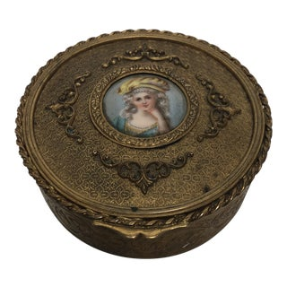 Early 20th Century Antique French Painted Porcelain Jewelry Box For Sale