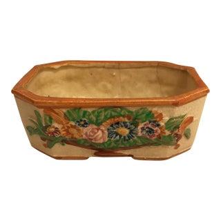 Mid-Century Japanese Floral Ceramic Cachepot/Jardiniere For Sale