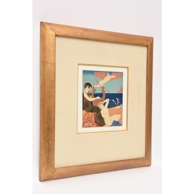 "Art Deco Georges Barbier Custom Framed Pochoir from the Portfolio "" Chansons de Biilitis"" For Sale - Image 3 of 9"