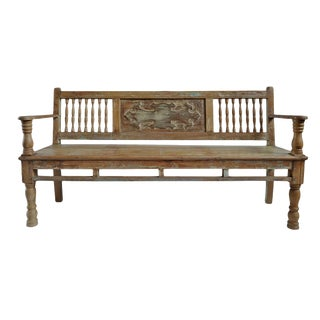 Vintage Colonial Teak Bench For Sale