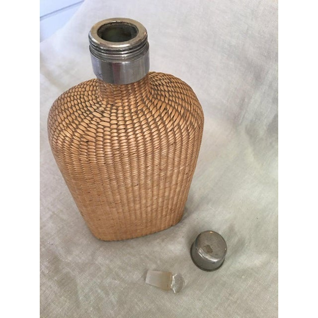 English Summer Rattan Covered Flask with a Brass Top, 19th Century For Sale - Image 4 of 7