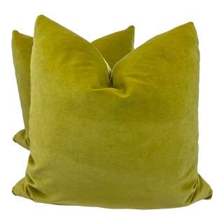 """Chartreuse Cotton Velvet 22"""" Pillows-A Pair For Sale"""
