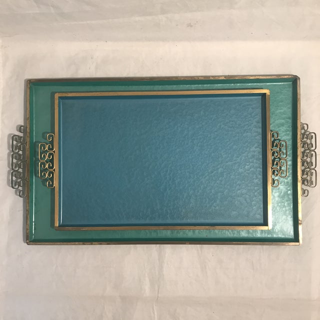 1960s Teal & Blue Kyes Metal Trays - a Pair For Sale In Los Angeles - Image 6 of 6