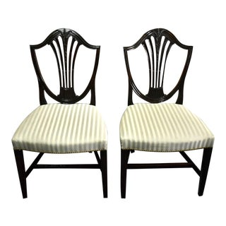 Pair of Antique Sheraton Style Shield Back Solid Dark Mahogany Chairs For Sale