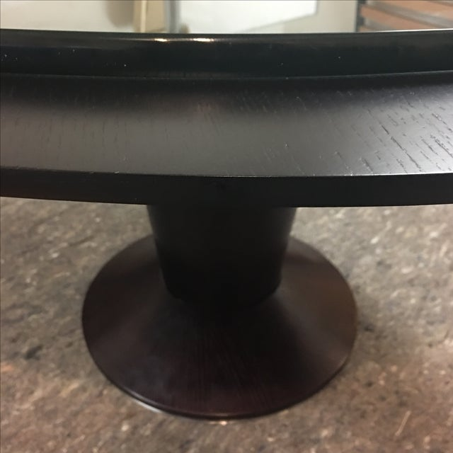 Contemporary Glass Top Pedestal Dining Table - Image 7 of 8