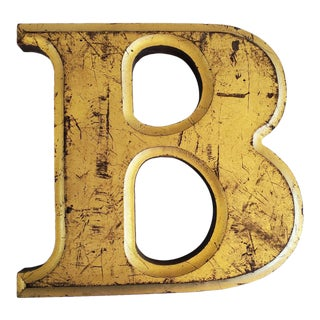 Gilt Wood Letter B - Signage Artifact For Sale