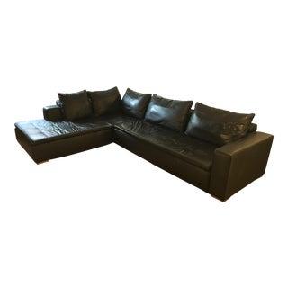 BoConcept Black Leather Mezzo Sectional Sofa