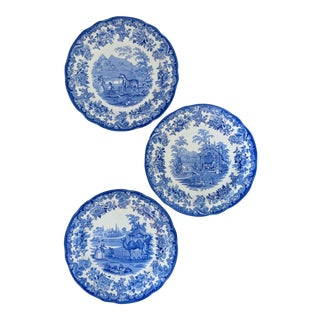 Spode Blue Room Collection - Camel, Tiger, Zebra - Blue and White Transferware Plates - Set of 3 For Sale
