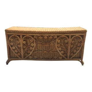 1960s Boho Chic Rattan Chest For Sale