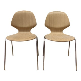 BoConcept Florence Stackable Chairs in Chrome + Oak - a Pair For Sale