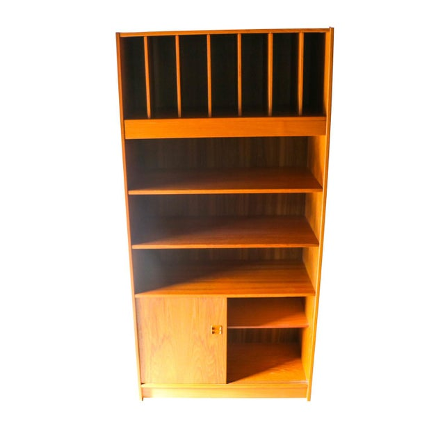 Mid-Century Modern Mid Century Danish Tall Teak Vinyl Storage Cabinet For Sale - Image 3 of 9