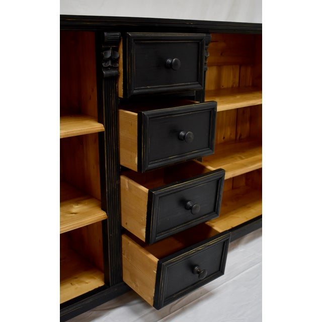 Black Long Country Pine Bookcase With Four Drawers For Sale - Image 8 of 13