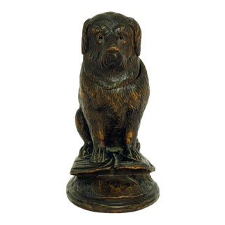 Late 19th Century Antique Black Forest Dog Figurine Box For Sale