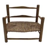 Image of Miniature French Country Rope Seat Oak Bench For Sale