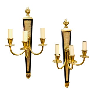 André Arbus Neoclassical Three Arm Sconces - a Pair For Sale