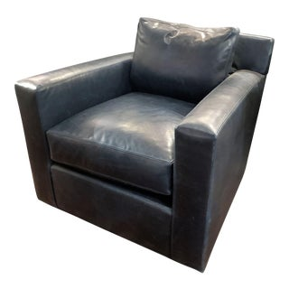 Lee Industries Sacket Marlin Blue Leather Swivel Glider Arm Chair For Sale