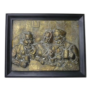 "Antique B. Forni Signed Bronze Bas Relief Plaque ""Reminiscences of Youth"" For Sale"